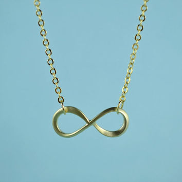 Forever Love: Infinity Necklace, Gold Plated Brass, Delicate Chain, Everyday Wear, Perfect Gif
