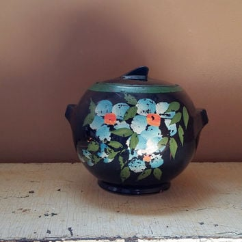 Art Deco Antique Cookie Jar Cold Painted Chippy Floral Pottery