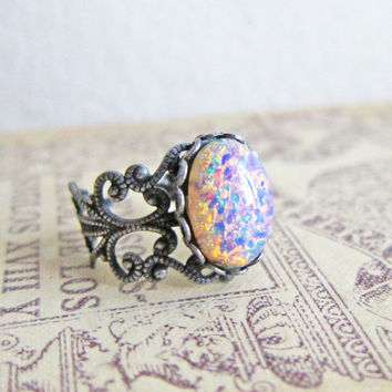 Antique Silver Ring Fire Opal Ring Pink Opal Ring Gift Ombre Ring Pewter Purple Lilac Speckled Egg Ring Cackle Glass Ring