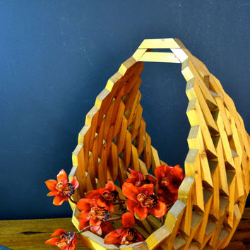 Large Vintage Wood Basket, Retro Geometric Storage with Handle, Solid Wood Organization