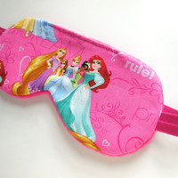 Girls Sleep Mask, Disney Princesses, Pink Sleepmask, Fleece Cotton Flannel, Night Shade, Cinderella Little Mermaid Ariel Rapunzel Belle