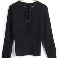 Cupshe Line'Em Up Lace Up Sweater
