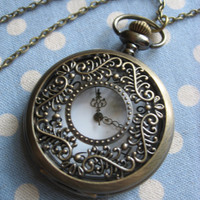 Nature woodland large antique brass pocketwatch by mykonos on Etsy