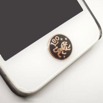 1PC Golden Constellation Leo Circle iPhone Home Button Sticker Charm for iPhone 4,4s,4g,5,5c Cell Phone Charm Lover Gift Birthday Gift