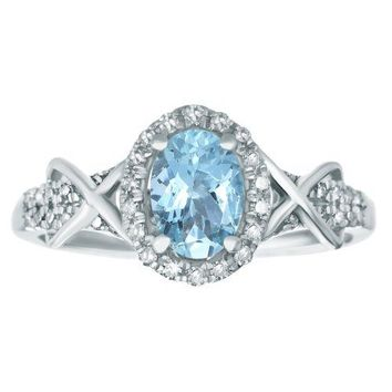 10K White Gold, Blue Aquamarine Diamond Oval Ring (.24cttw, I-J, I2-I3)
