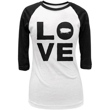 CREYCY8 Pig Love Juniors 3/4 Sleeve Raglan T Shirt