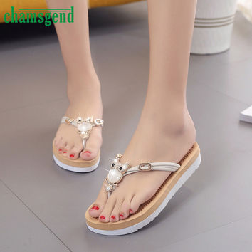 2017 New Summer Women Owl Crystal Cute Flip Flops Female Soft Home Flat Slippers Ladies Lesiure Beach Slides Thongs Shoes Apr7