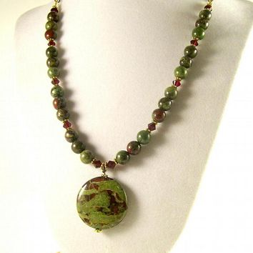 Dragon Blood Jasper Stone Necklace, Green & | BobblesByCarol