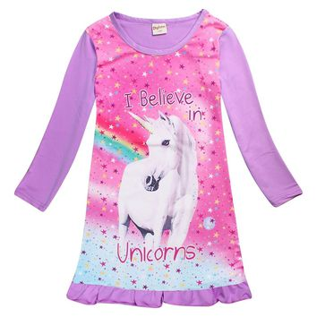 spring Unicorn girl children Long sleeves sleepingwear children's dress nightgowns for girls Pyjamas Clothes Princess Dress