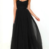 Black Sweetheart Ruched Detail High Waist Maxi Dress - Choies.com