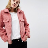 Moss Copenhagen Teddy Coat With Zip Front at asos.com