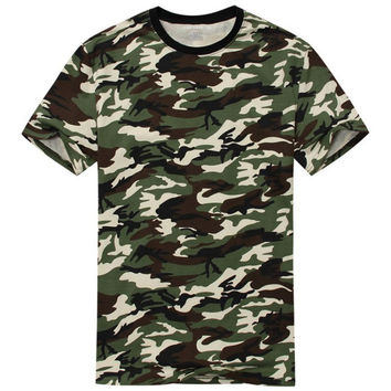 Casual Camouflage T-shirt Men Cotton Army Tactical Combat Military Camo Camp Fashion Tee Shirt Homme SM6
