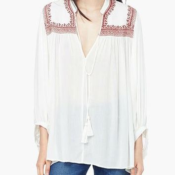 Womens Peasant Blouse- White / Red Trim