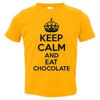 Keep Calm and Eat Chocolate Tshirt. Awesome Food Tshirt.  Fun Youth Toddler and Infant Tshirt and Creepers. Makes A Great Gift!!!