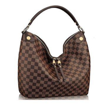 DCK4S2 Authentic Louis Vuitton Damier Duomo Hobo Shoulder Handbag Article:N41861 Made in France