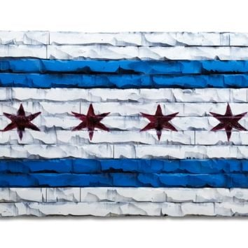 Chicago Wood Flag Decor 59x32