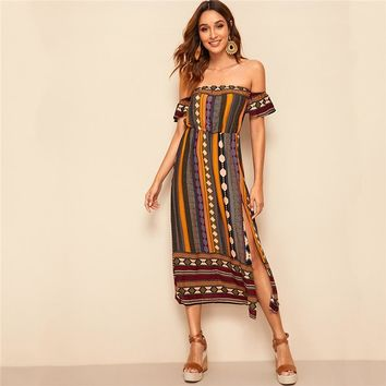 Multicolor Off Shoulder Tribal Print Split Long Dress Women Fit Flare High Waist Folk Style Sexy Dresses