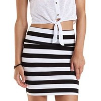 Black/White Striped Bodycon Mini Skirt by Charlotte Russe