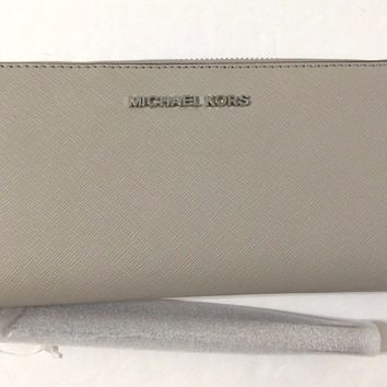 NEW Michael Kors Jet Set Travel Large Continental Wallet Saffiano Leather Cement