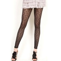 Lace Footless Tights, One Size, Black Color.