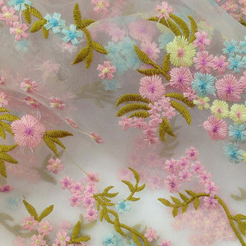 Pretty colorful floral embroidered organza for Prom Dress, Evening dress,Skirt,Wedding Gown,Formal dress, organza fabric for curtain