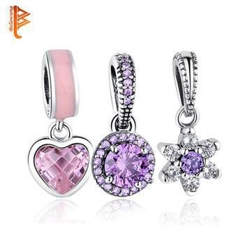 Original 925 Sterling Silver CUBIC ZIRCONIA Family Tree Daisy Snowflake HEART Charms F