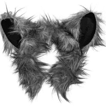 Plush Wolf Ears Headband Accessory for Wolf Costume, Pretend Animal Play or Forest Animal Costumes
