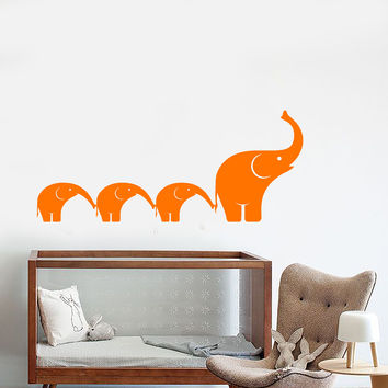 Vinyl Wall Decal Elephants Family Cartoon African Animals Nursery Stickers Unique Gift (1443ig)