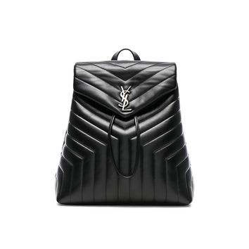 Saint Laurent Medium Supple Monogramme Loulou Backpack in Black | FWRD