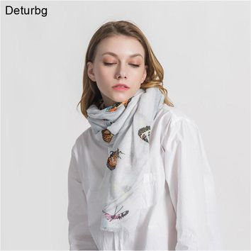 Deturbg Fashion Butterfly Print Long Scarf Women's Bandana Cotton Linen Scarves For Women Shawl Pashmina 2018 Autumn Hijabs AW33