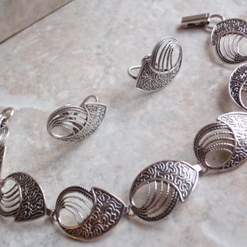 Beau Sterling Set Bracelet Earrings Brooch Pin Swirl Modernist  Parure Vintage V0099
