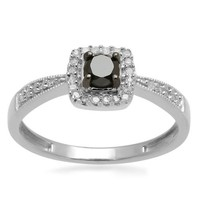 Sterling Silver Black and White Diamond Cushion Ring (1/4 cttw, I-J Color, I3 Clarity)