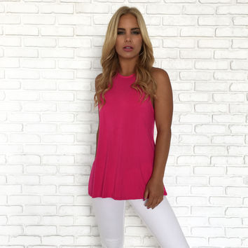 Trapeze Open Back Jersey Top In Magenta