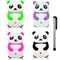 [Pack of 4] NanoCell4All Cute Panda Bear 3D Cartoon Soft Silicone Skin Case Cover for Ipod Touch 4 4th Generation (Neon Green, Purple, Hot Pink, Black) with NanoCell4All Capacitive Stylus Pen (Bundle: 4 Panda Bear Silicone Cases and Stylus Pen)