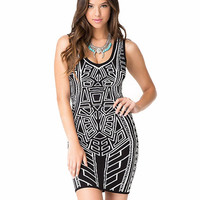 Sleeveless Geometric Pattern V-Neck Bodycon Mini Dress