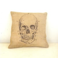 Anatomical Skull ~ Halloween Burlap Accent Pillow 12 Inch Decorative Spooky Home Decor