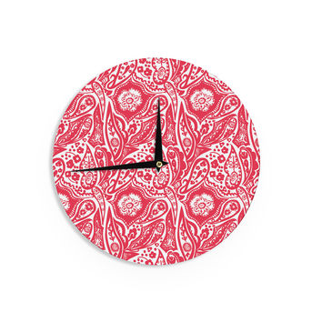 "Agnes Schugardt ""Paisley"" Paisley Red Wall Clock"
