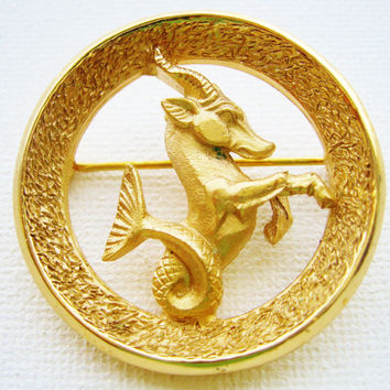 Capricorn The Goat Trifari Zodiac Brooch Pin - Vintage Crown Trifari Astrology Brooch  - December January Birthday Gifts - Astrology Jewelry