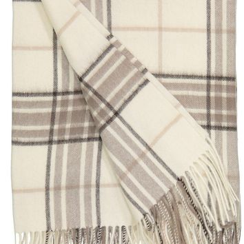 Rocky Mountain Plaid Throw in White