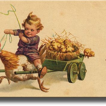 Boy Riding Chicken with Little Chicks Picture on Acrylic , Wall Art Decor Ready to Hang!.