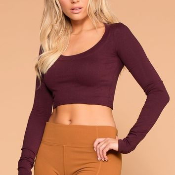 Melora Burgundy Long Sleeve Crop Top
