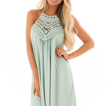 Eucalyptus Dress with Lace Front Detail