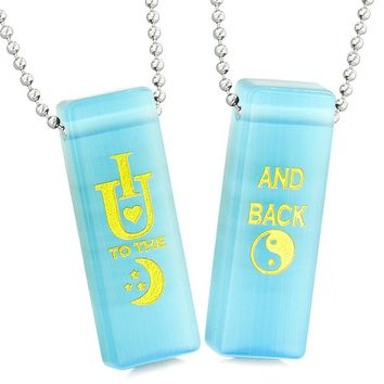 I Love You to the Moon and Back Magic Couples Amulets Sky Blue Simulated Cats Eye Tag Necklaces