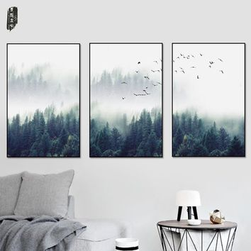 3Pcs Landscape Canvas Painting Tree Wall Art Poster and Prints Nordic Modern Home Decoration Canvas Art Sets Wall Pictures For L
