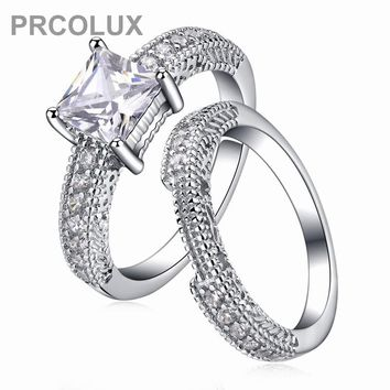PRCOLUX Fashion Wedding Engagement Rings For Women White CZ Solitaire 925 Sterling Silver Ring Jewelry Gifts XA012