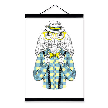 Bunny Rabbit Modern Fashion Gentleman Abstract A4 Wooden Framed Canvas Painting Wall Art Prints Picture Poster Scroll Home Decor
