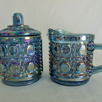 Blue Carnival Glass Sugar Bowl and Creamer Set by Indiana Glass Windsor
