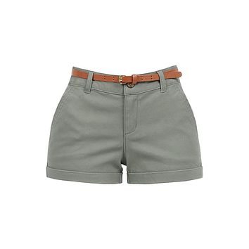 Stretchy Brushed Twill Low Rise Cuffed Belted Shorts with Pockets