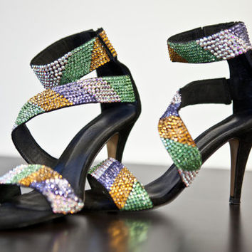 High heel- Spring office sandal with swarovski tribal design, womens heels, womens shoes, shoes