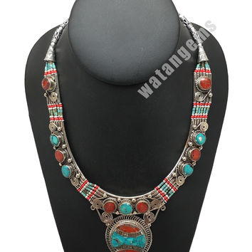 Ethnic Tribal Green Turquoise & Red Coral Inlay Boho Statement Necklace, NPN56